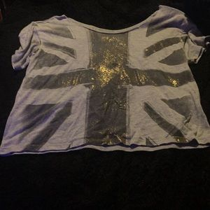 Size small off the shoulder Union Jack tee